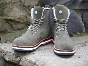 Ботинки Moncler Lace-Up Boots Grey - Made in Italy