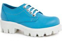 Туфли на платформе Las Espadrillas 658301 Голубая кожа