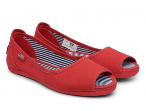Ballerinas Las Espadrillas Red Canvas Ballerinas 72335-47