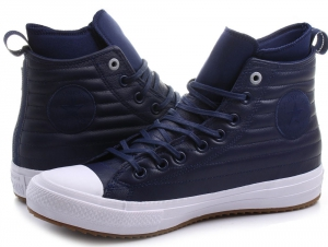 Leather sneakers Converse Chuck Taylor All Star Waterproof Boot Quilted Leather 157490C unisex (Dark blue,blue)