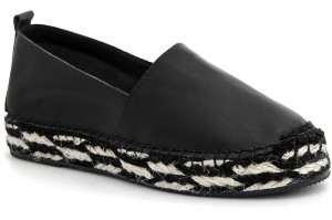 Women's espadrilles Las Espadrillas 3070-27 Black leather