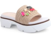 Fashion sandals Las Espadrillas 10060-18 unisex (beige)