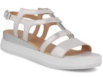 Жіночі сандалі Las Espadrillas 033-5-14 (Срібний,Білий)