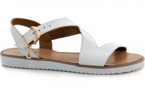 Womens sandals Las Espadrillas 22261-13 White skin