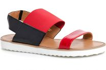 Women's sandals Las Espadrillas 2246-47 Black | Red