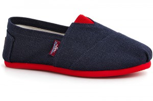 Jeans espadrilles Las Espadrillas 3015-70 Dark blue on the red outsole