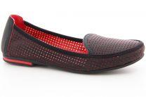 Мокасины Las Espadrillas 530908-AE унисекс   (чёрный/красный)