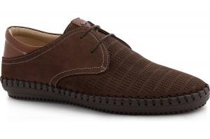 Чоловічі мокасини на шнурках Greyder 60110-45 Шоколадний нубук