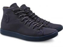 Мужские кожаные кеды Forester Monochrome 132125-895MB   (тёмно-синий)