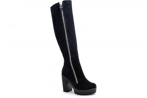 High heel boots with fur Forester 4658-101238 Navy suede