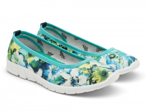 Sporty ballerinas Las Espadrillas Green Flowers Motion Foam 22635-2840
