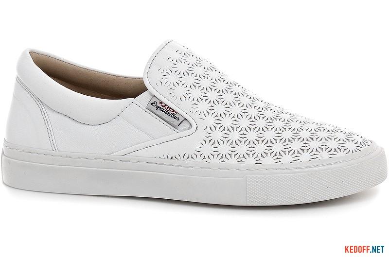 White leather slipons Las Espadrillas 657110-13 perforated
