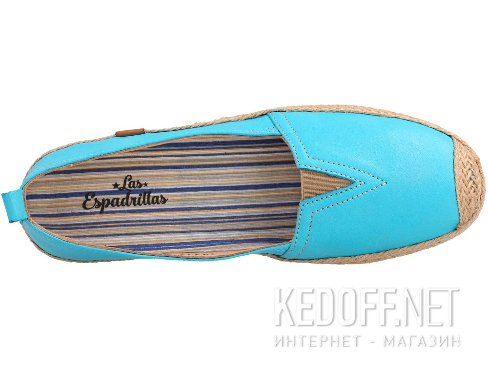 Кожаные мокасины Las Espadrillas 10119-42   (голубой) купить Киев