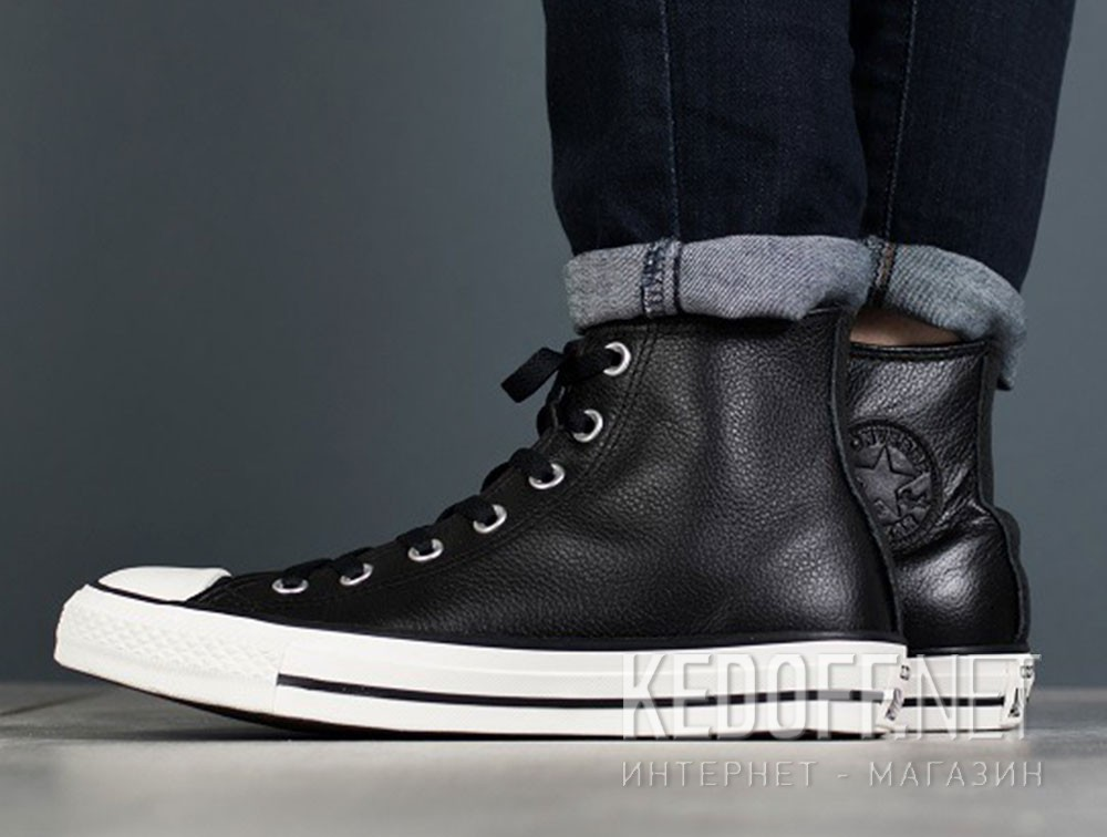 Мужские кеды Converse Chuck Taylor All Star Tumble Leather 157468C   (чёрный) Фото 12