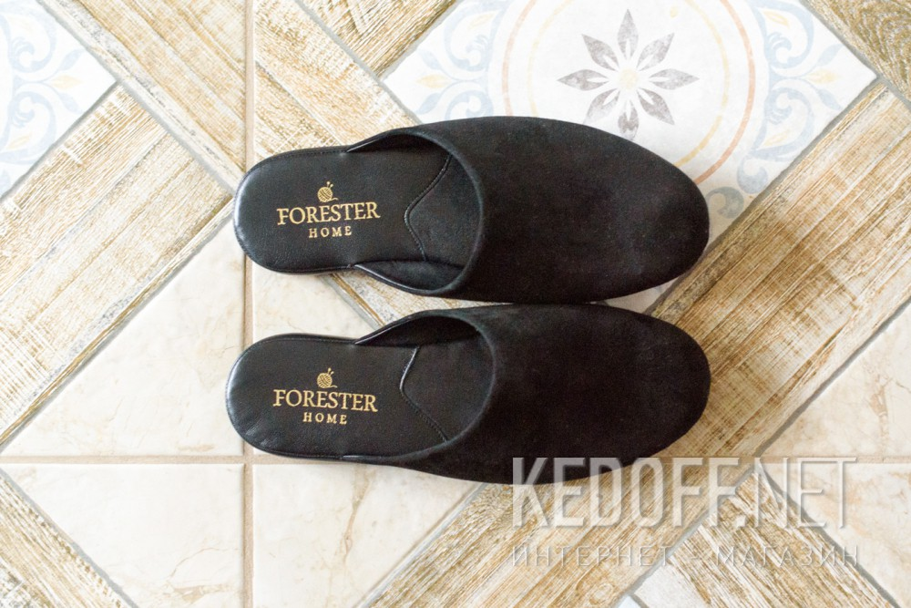 Тапочки Forester Home 1504-1 Чорні замшеві