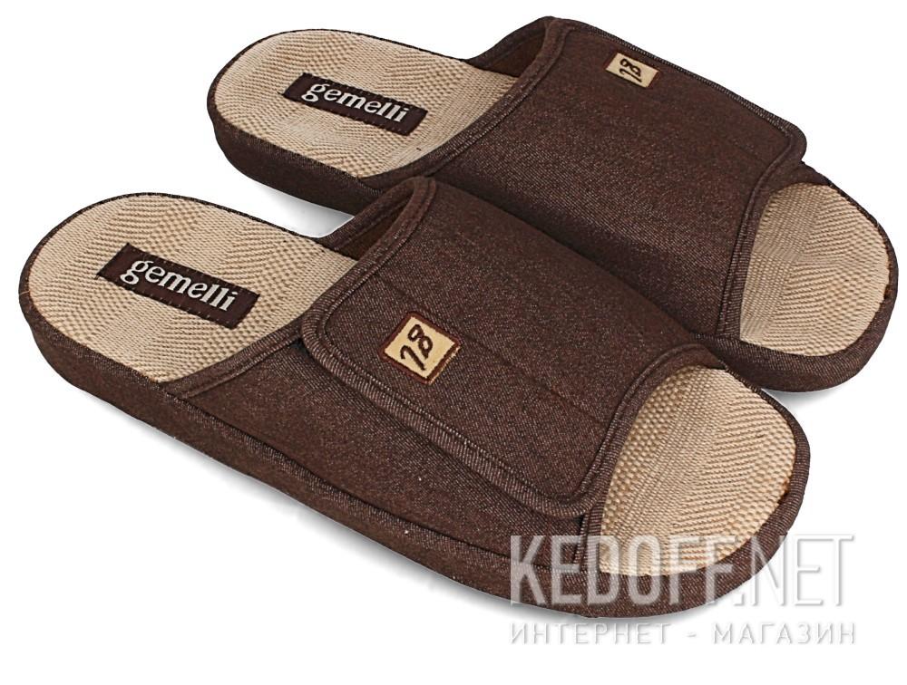 Мужские тапочки Gemelli 130393-45 (коричневый) купить Украина