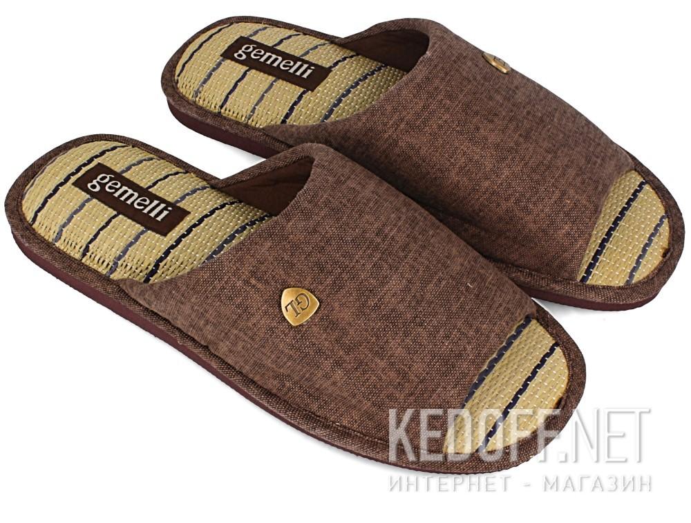Мужские тапочки Gemelli 160750-45 (тёмно-коричневый) купить Украина