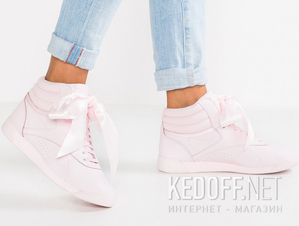 bbd633ef477c7 Women Reebok sneakers Freestyle Hi Steals Hearts Hi Satin Bow CM8905