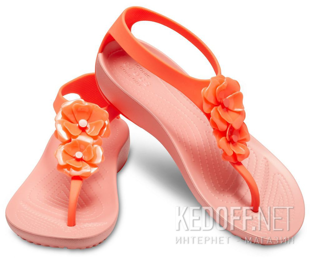 Цены на Женские сандалии Crocs Serena Embellish Flip W Bright Coral/Melone 205600-6PT