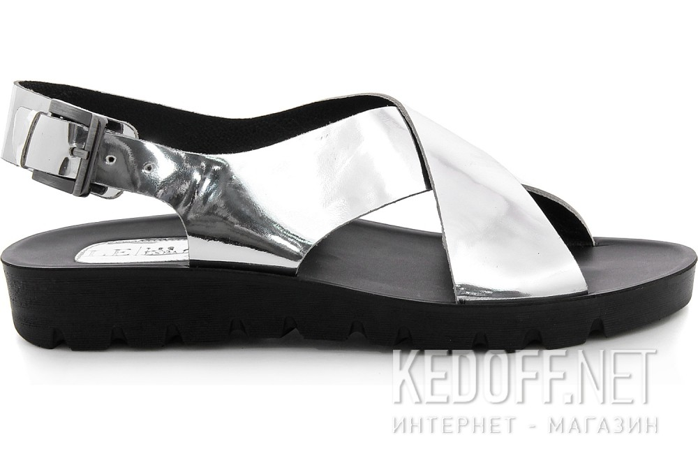 Womens sandals Las Espadrillas D002-14 Black, silver leather
