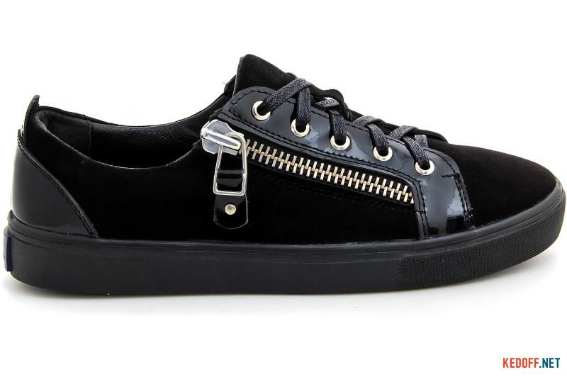Sneakers Las Espadrillas Zipper 1647-27 Low black suede