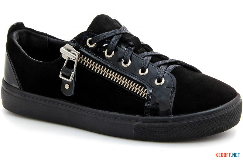 Sneakers Las Espadrillas Zipper 1647-27 Low black suede