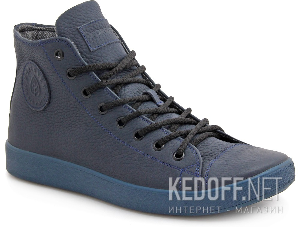 Leather sneakers with membrane Forester US Navy Monochrome 132125-895Mb ordinary Leather shoelaces