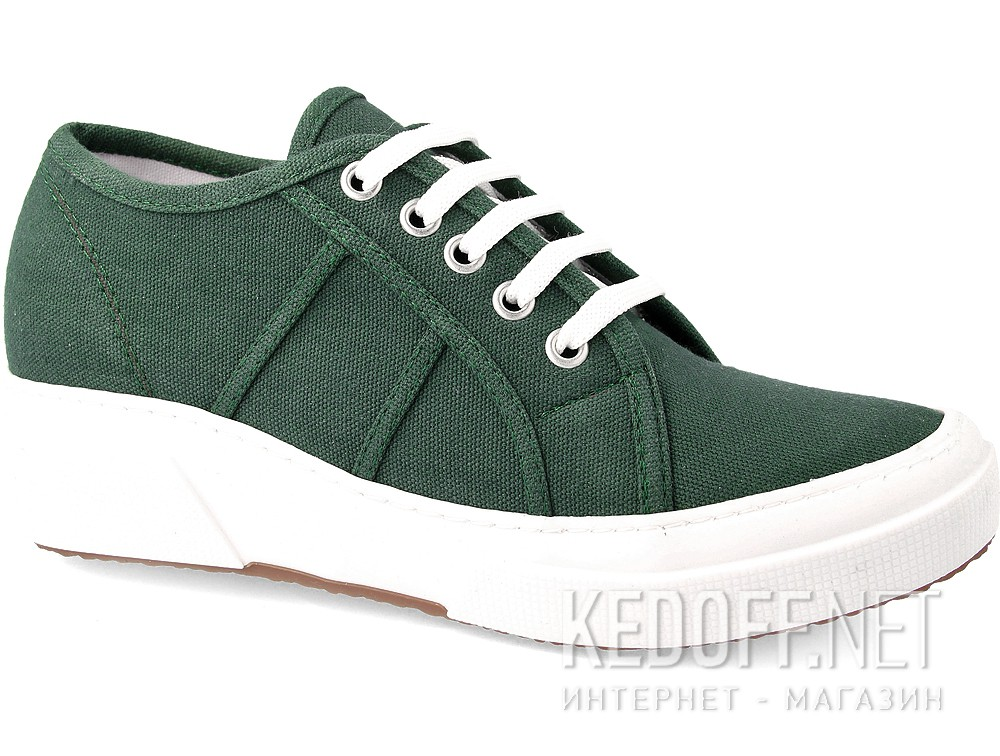 Кеды на танкетке Las Espadrillas SuperGa Heel 5366-22 Green Canvas