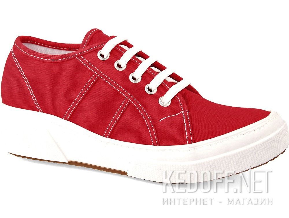 Кеди на танкетці Las Espadrillas Super Ga Heel 5366-47 Red Canvas