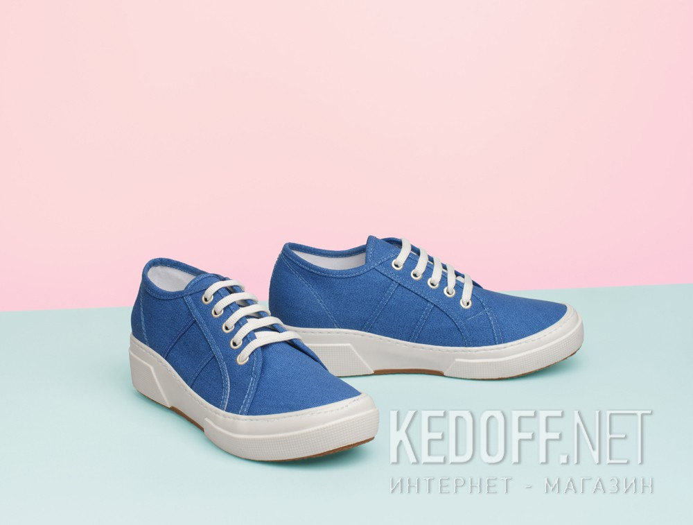 Кеды на танкетке Las Espadrillas SuperGa Heel 5366-42 Blu Canvas