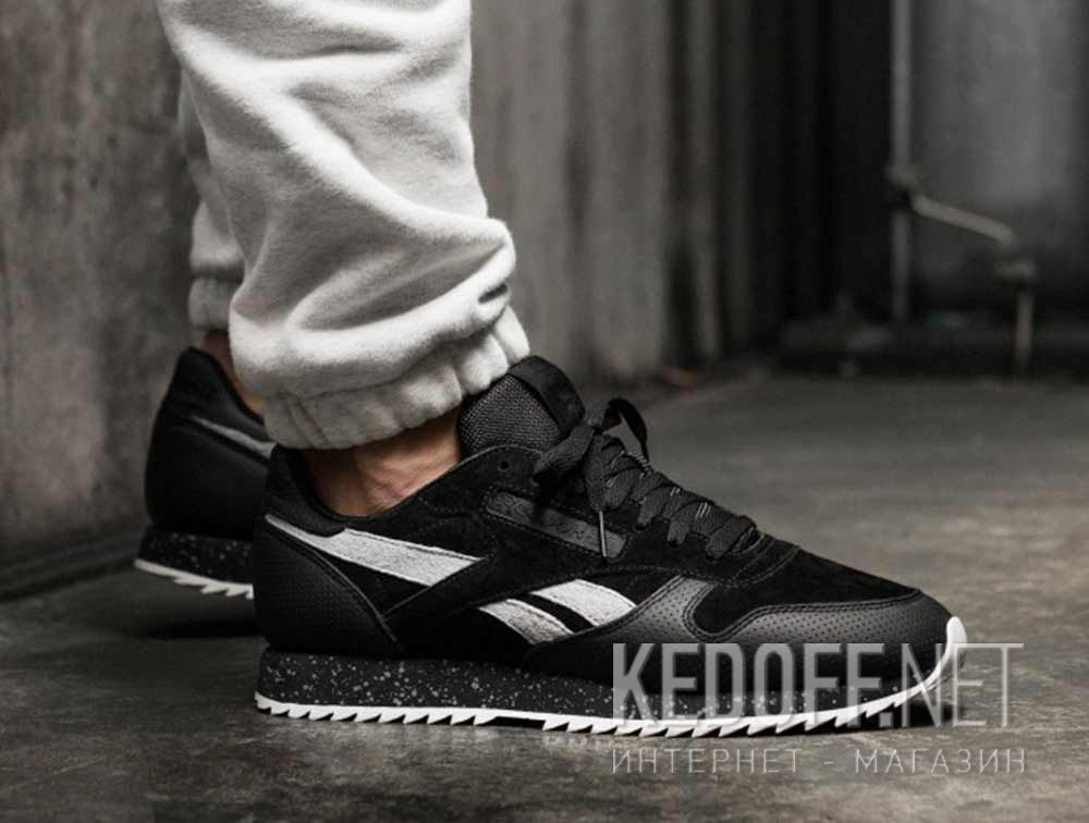 Кроссовки Reebok Classic Leather Ripple Sm \ Black/Cool Shadow/Chalk BS9726 все размеры