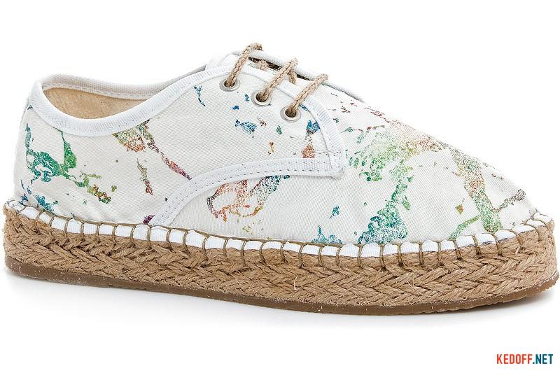 Білі еспадрільї на шнурках Las Espadrillas 2091-13