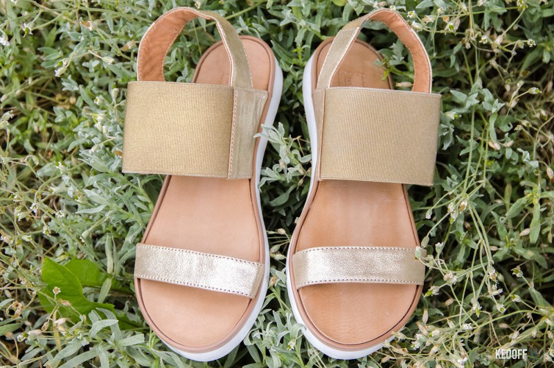 Women's sandals Las Espadrillas 2243-79 Golden