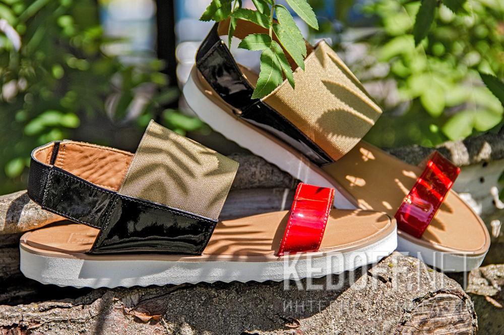 Women's sandals Las Espadrillas 2245-79 Red | Black | Labrador