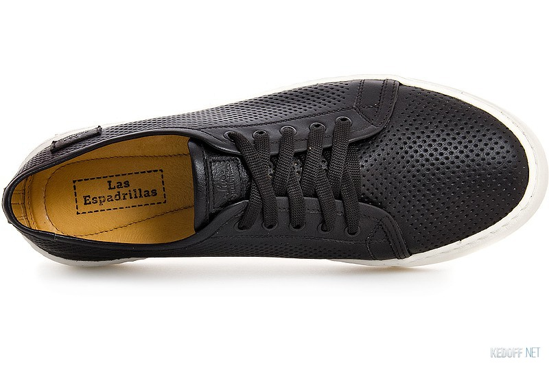 Men Las Espadrillas Leather Low 4077-27 Black Leather