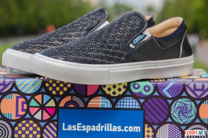 Женские слипоны Las Espadrillas 657110-27 Black Leather