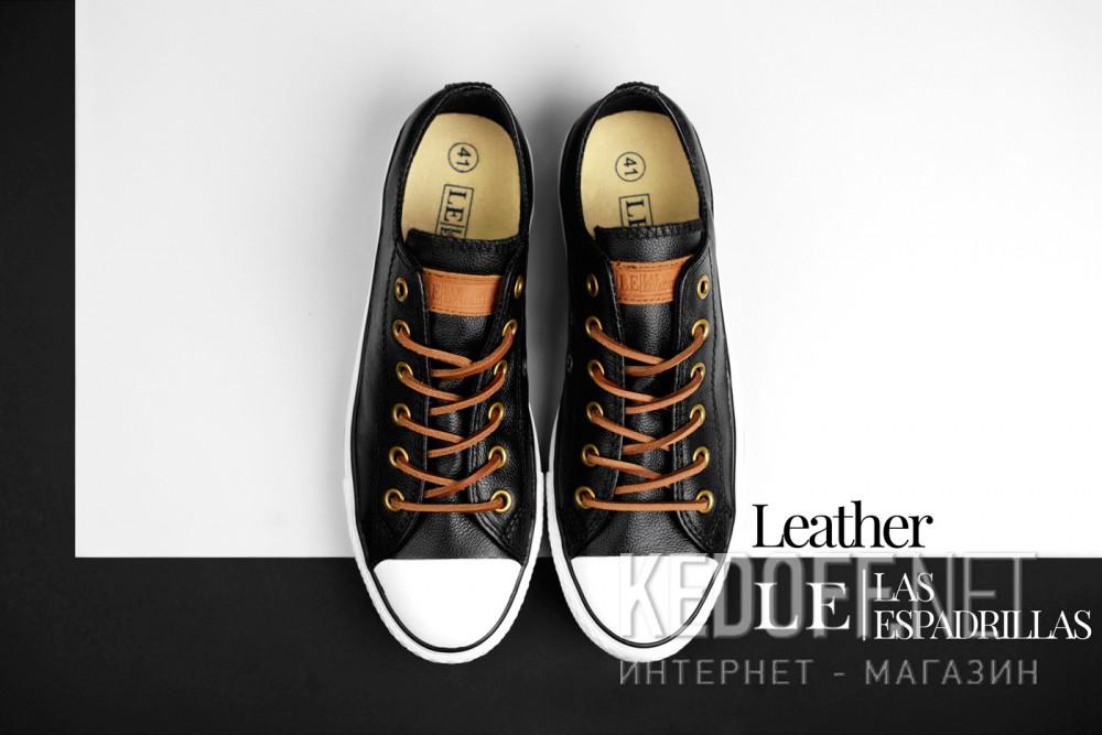 Кеди Las Espadrillas Black Premium leather Le38-107348 звичайні Шкіряні шнурки
