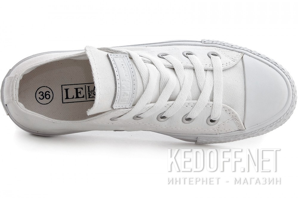 Белые кеды Las Espadrillas Mono White Low Le38-116828 Кожаные + обычные шнурки
