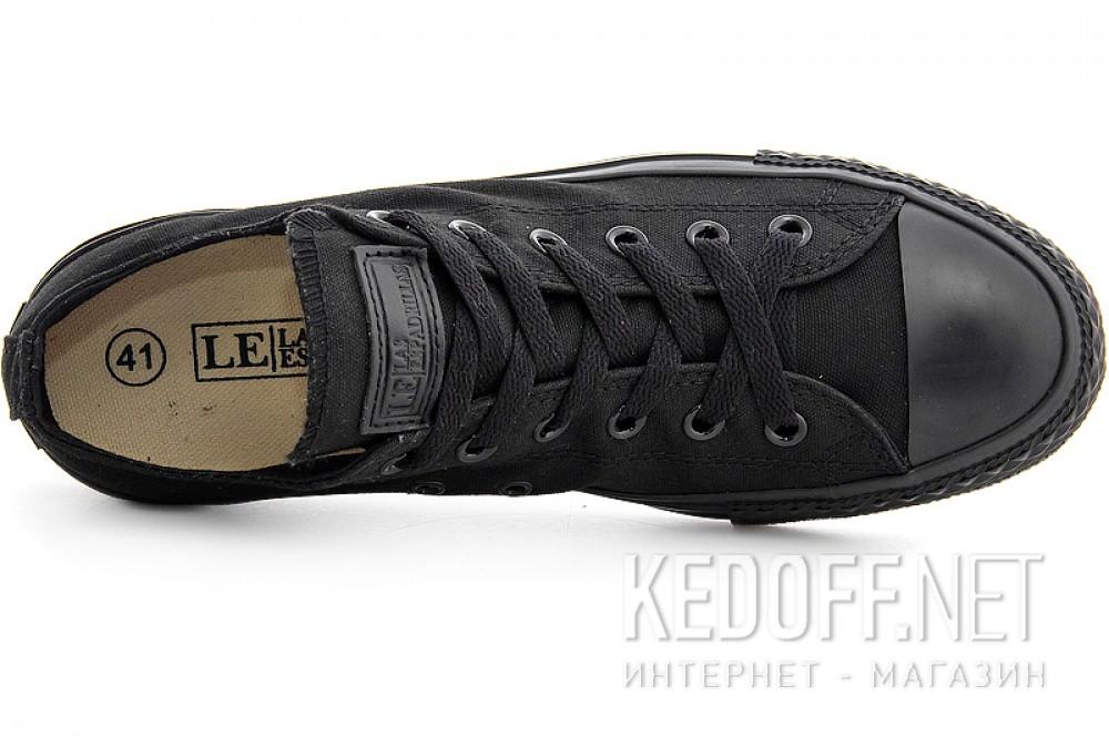 Кеды Las Espadrillas Mono Black Low Le38-5039 Кожаные + обычные шнурки