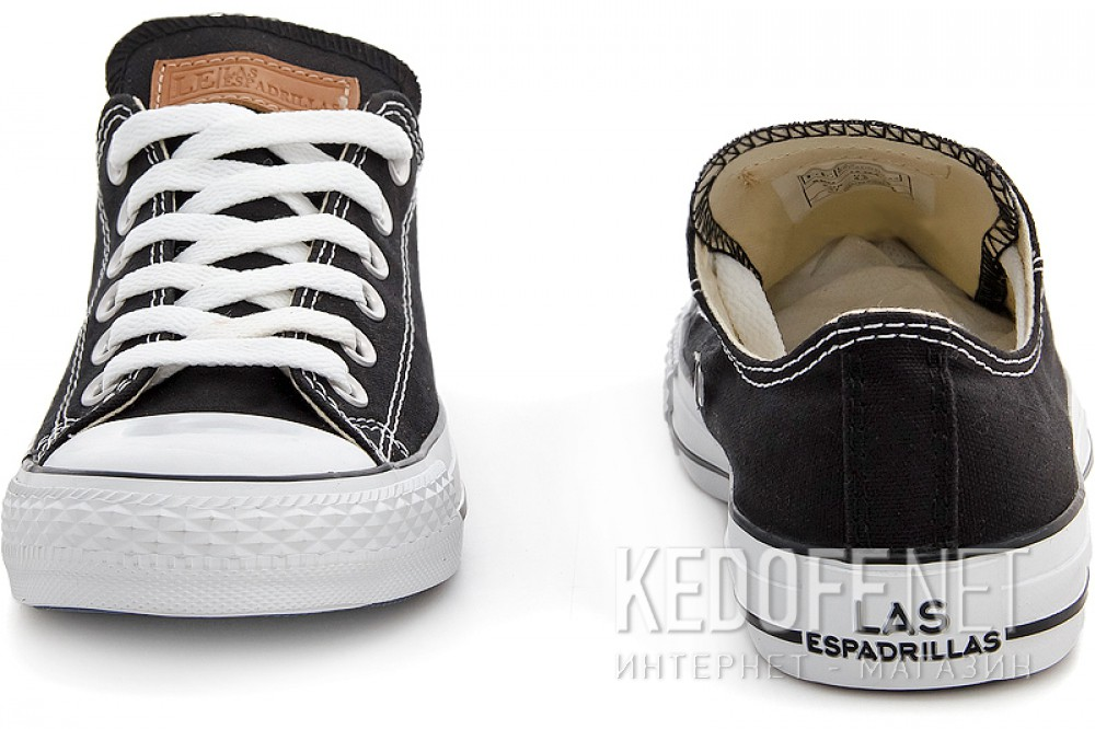 Black sneakers Las Espadrillas Black Classic Low Le38-9166 ordinary Leather shoelaces