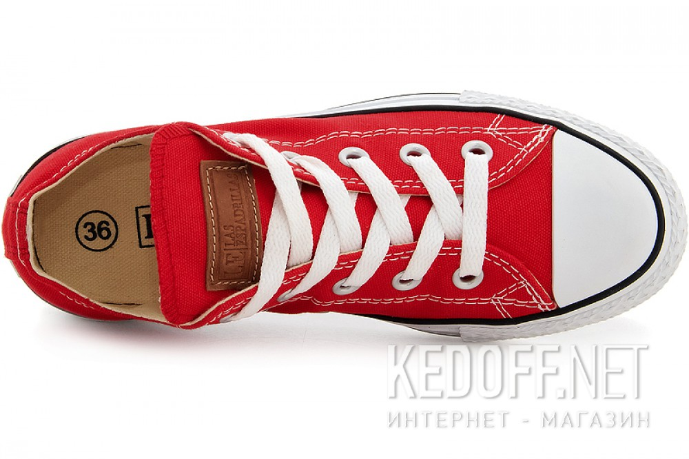Sneakers Las Espadrillas Red Classic Low Le38-9696 ordinary Leather shoelaces