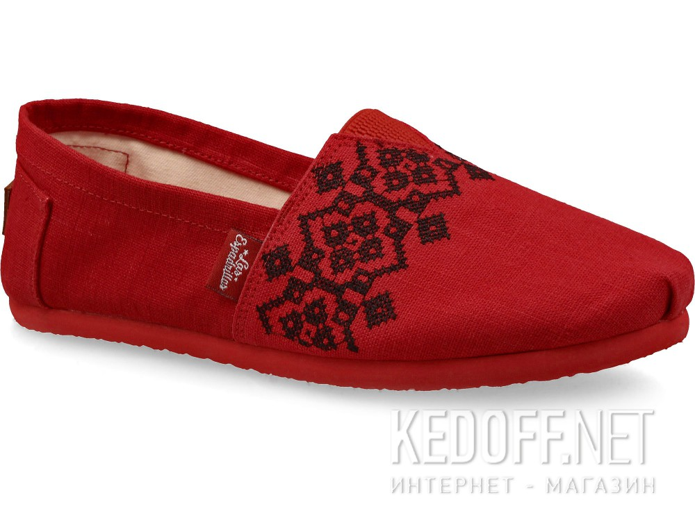 Summer shoes Las Espadrillas Vyshyvanka Red 3015-75