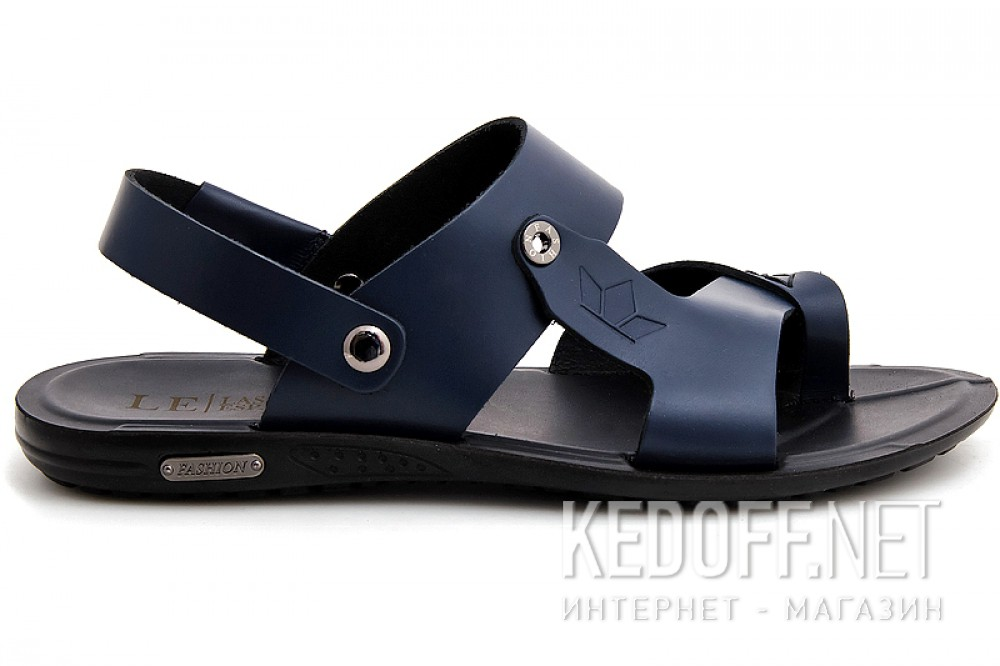 Mens sandals Las Espadrillas T011-89 Navy leather