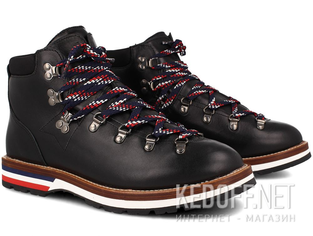 Мужские ботинки MonCler PEAK Vibram Black Leather Made in Italy купить Украина