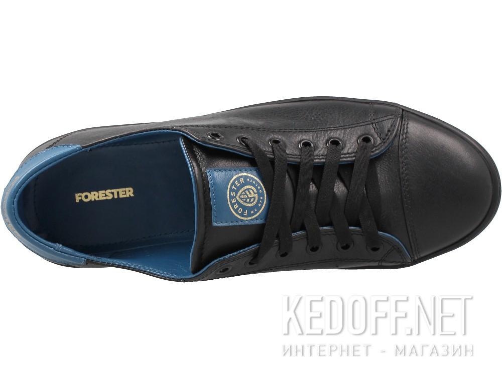 Оригинальные Кожаные кеды Forester 9020-010827 унисекс   (чёрный/синий)