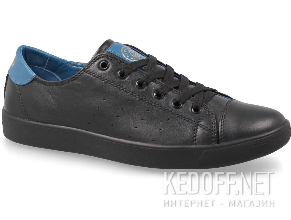 Кожаные кеды Forester 9020-010827 унисекс   (чёрный/синий)
