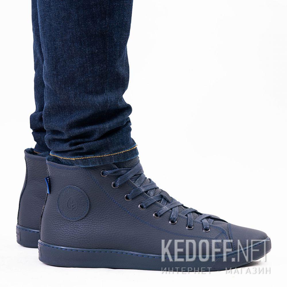 Мужские кожаные кеды Forester Monochrome 132125-895MB   (тёмно-синий) доставка по Украине
