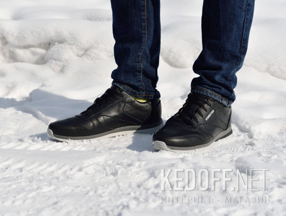 Доставка Мужские кроссовки Forester Original Black Leather 4101-27