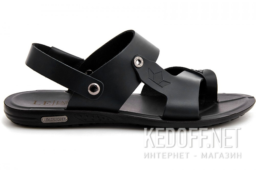 Mens sandals Las Espadrillas T011-27 Black leather
