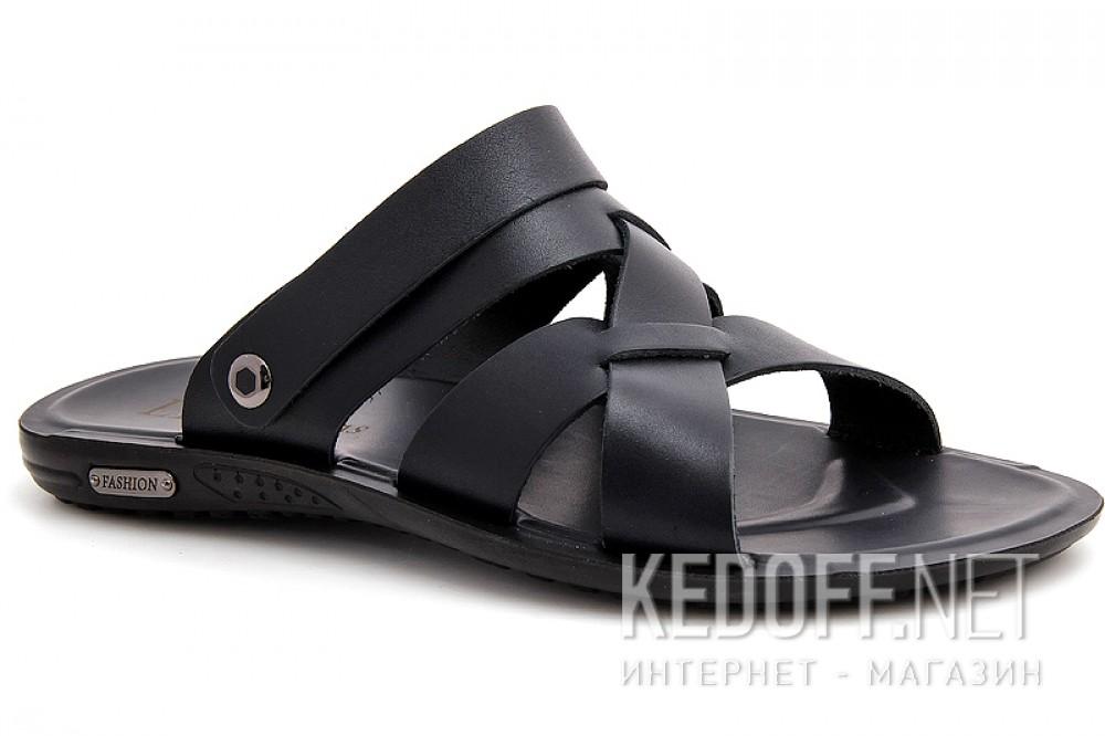 Чоловічі сандалі Las Espadrillas T015-27 Чорна шкіра
